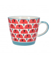 Gisela Graham Red Geo Ceramic Mug