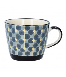 Gisela Graham Navy Geo Ceramic Mug