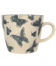 Gisela Graham Grey Butterflies Ceramic Mug
