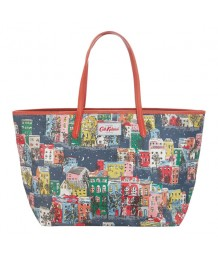 Cath Kidston Large Leather Tote Townhouses Midnight