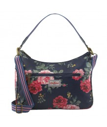 Cath Kidston Curve Shoulder Bag Antique Rose Navy