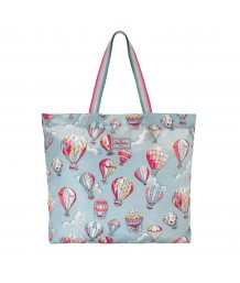 Cath Kidston Large Foldaway Tote Hot Air Balloons Dusty Blue