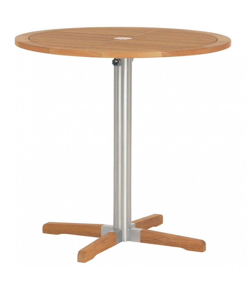 Barlow Tyrie Equinox High Cm Circular Bistro Table With Teak Top - Teak high top table