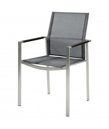 Barlow Tyrie Mercury Graphite and Platinum Dining Armchair