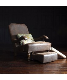 John Sankey Byron Chair and Footstool in Hawker Peat Leather