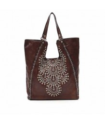 "Campomaggi Shopping bag in dark brown leather with ""Camelia"" studs"