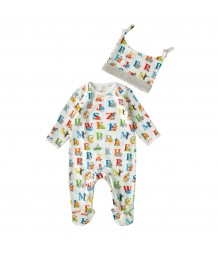 Cath Kidston Baby Sleepsuit & Hat Gift Set 3-6 months Animal Alphabet