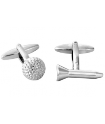 Golf Ball and Tee Cufflinks Rhodium Plated