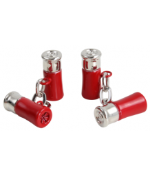 Red and Silver Shotgun Cartridge Chain Link Cufflinks
