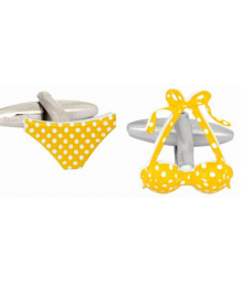 Ladies Yellow Spotted Rhodium Plated Bikini Cufflinks