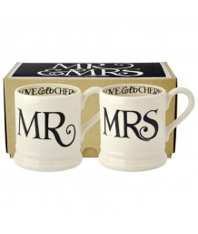 Emma Bridgewater - Black Toast, Mr & Mrs, 1/2 Pint, Mugs, Boxed