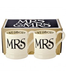 Emma Bridgewater - Black Toast, Mrs & Mrs, 1/2 Pint, Mugs, Boxed