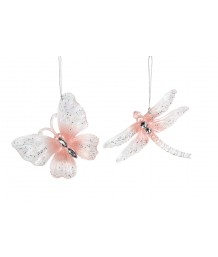 Gisela Graham Clear & Pink Butterfly/Dragonfly Dec, 2 assorted
