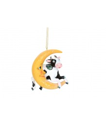 Gisela Graham Cow Jumps Over the Moon Resin Decoration