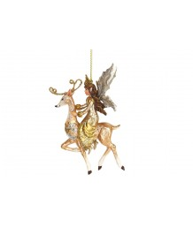 Gisela Graham Coloured Resin Fairy on Reindeer Decoration