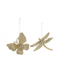 Gisela Graham - Gold Glitter Butterfly or Dragonfly with Jewels Decoration