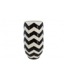 Black & White Ceramic Zigzag Vase