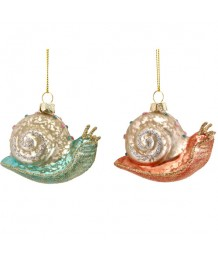 Gisela Graham - Glass Water Snail Decoration, 2assorted