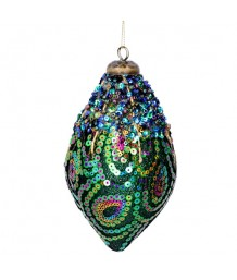 Gisela Graham - Peacock Sequin & Bead Ogee Decoration
