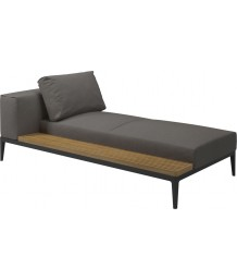 Gloster Grid Lounge Left / Right Chaise Unit With Buffed Teak Platform