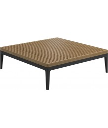 Gloster Grid Lounge Square Coffee Table With Buffed Teak Top