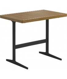 Gloster Grid Lounge Side Table With Buffed Teak Top