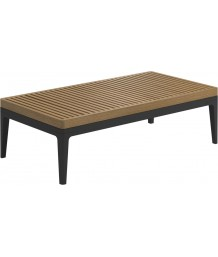 Gloster Grid Lounge Small Coffee Table With Buffed Teak Top