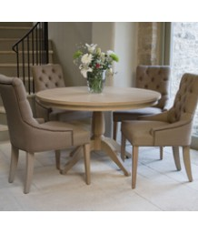 Neptune Henley 120cm Pedestal Table and 4 Henley Linen Dining Chairs in Mocha