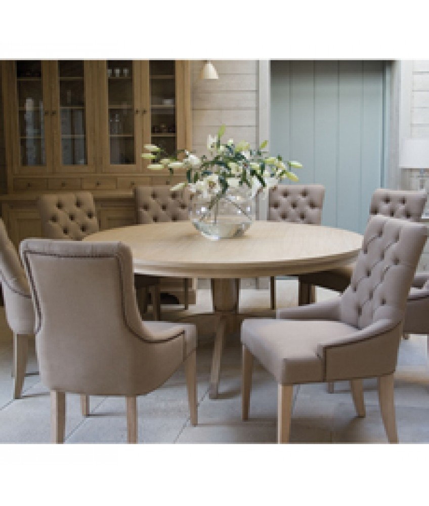 Neptune henley 150cm round pedestal table and 6 henley for Pedestal dining table and chairs