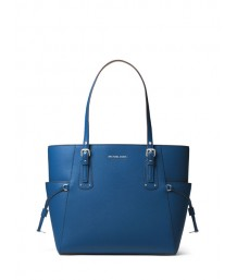 Michael Kors Voyager Small Crossgrain Leather Tote Bag Grecian Blue