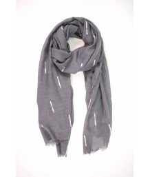 Dark Grey Scarf with All Over Silver Foil Matchstick Design