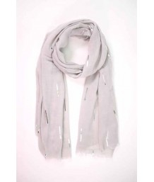 Light Grey Scarf with All Over Silver Foil Matchstick Design
