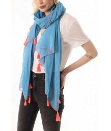 Plain Blue Cotton Scarf with a Neon Coral Stitching and a Tassel Detail At Each Corner