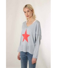 Sky Blue Cotton Jumper with Coral Star Motif
