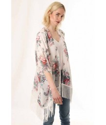 Fringed White Kimono with Floral Prints and Birds