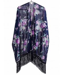 Fringed Navy Blue Kimono with Floral Prints and Birds