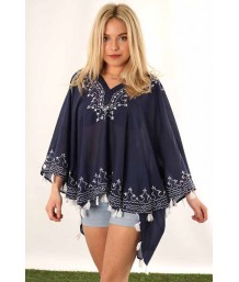 Navy Blue Short Swing Kaftan Top with White Floral Embroidered Neckline with Tassels