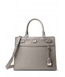 Michael Kors Reagan Large Satchel in Pearl Grey