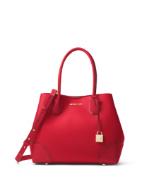Michael Kors Mercer Gallery Medium Leather Tote Bright Red