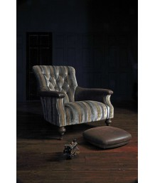 John Sankey Slipper Chair Chevalier Stripe and Leather Main Button Foot Stool