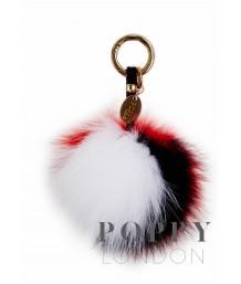 Pom Pom Keyring White, Navy and Red