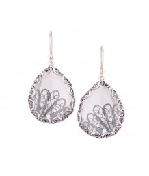 Yvone Christa - Silver Filigree Earrings, Clear Aqua Lemuria