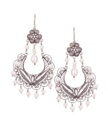 Yvone Christa - Hanging Half Moon Earring with White Pearl