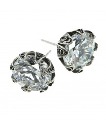 Yvone Christa - Tulip Cup Post Earring, Cubic Zirconia