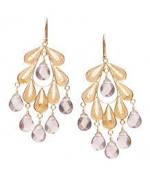 Yvone Christa - Classic Leaf Chandelier Earrings with Smokey Topaz