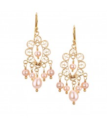 Yvone Christa - Gold Filigree, Hanging Earring, Champagne Pearl